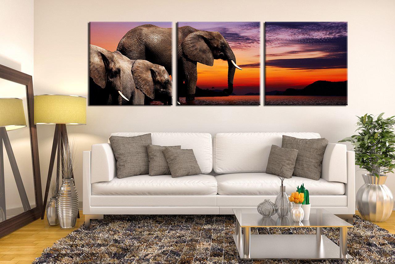 Marvelous 3 Piece Large Pictures, Living Room Canvas Photography, Elephant Wall Decor,  Wildlife Group