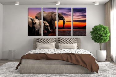4 piece canvas wall art, bedroom canvas print, elephant artwork, wildlife group canvas, animal huge canvas art