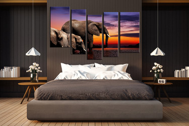 5 piece canvas print, bedroom canvas photography, elephant artwork, wildlife group canvas, animal huge pictures