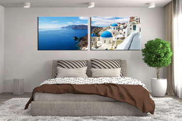 2 piece huge canvas print, bedroom group canvas, white city canvas print, panoramic art, city wall decor
