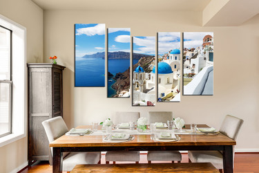 5 piece group canvas, dining room large pictures, white city art, blue huge canvas art, beautiful city wall decor