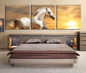3 piece large pictures, bedroom canvas print, bedroom huge canvas print, wildlife wall decor, horse group canvas