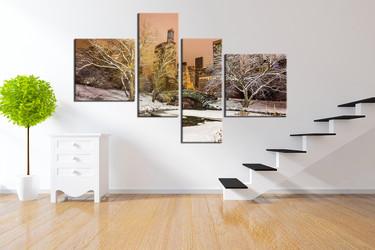 4 piece multi panel art, scenery canvas print, snow artwork, white wall decor, tree huge canvas art