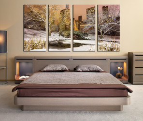 4 piece huge canvas print, bedroom group canvas, scenery artwork, snow canvas print, white canvas print