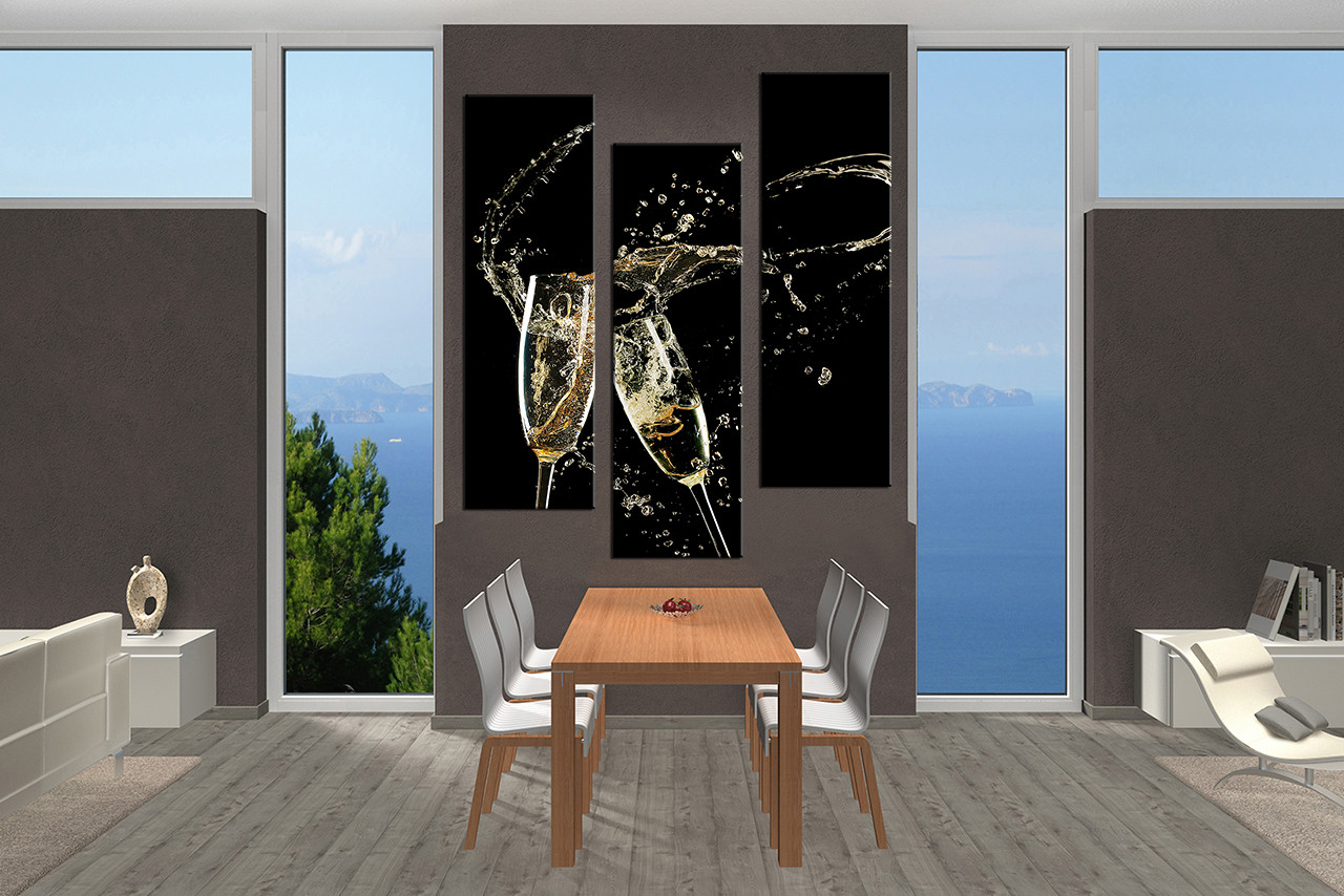 Dining Room Canvas Wall Art 3 Piece Home Decor Wine