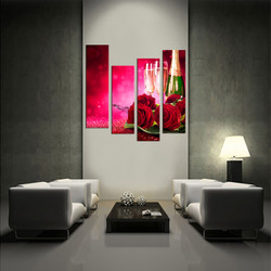 4 piece wall decor, living room wall art,  multi panel art, wine large pictures, wine  landscape photo canvas