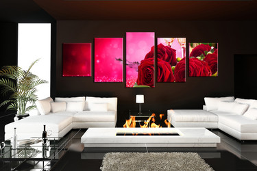 5 piece multi panel canvas, red wall decor, red rose photo canvas, living room artwork, red rose multi panel art