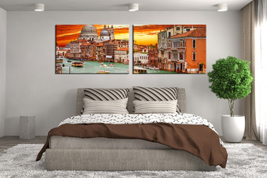2 piece large pictures, bedroom photo canvas, beautiful city art, orange huge canvas print, panoramic canvas print