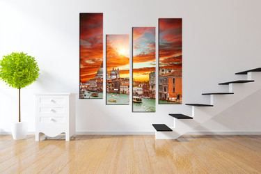 4 piece huge canvas print, orange huge pictures, beautiful city artwork, gondola huge canvas art, city group canvas