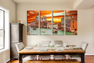 4 piece photo canvas, dining room huge pictures, orange artwork, city artwork, gondola canvas photography