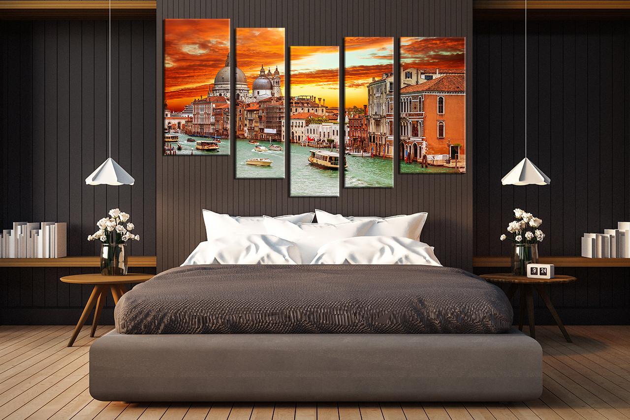 5 Piece Artwork City Canvas Art Prints Gondola Huge