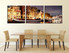 3 piece multi panel canvas, dining room art, star group canvas, yellow artwork, panoramic canvas wall art