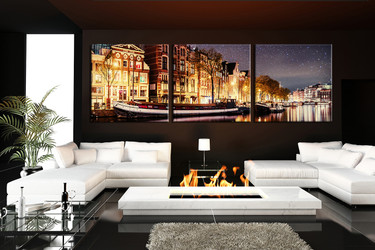 3 piece huge canvas art, living room artwork, star canvas print, yellow large pictures, panoramic art