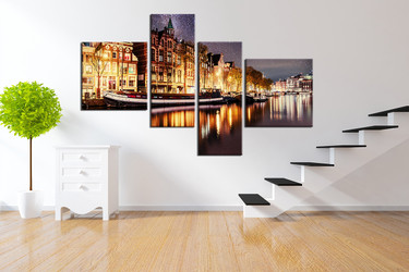 4 piece art, yellow huge pictures, star group canvas, cityscape wall decor, boat artwork