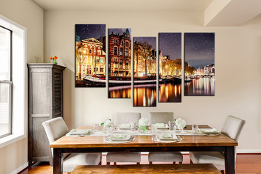 5 piece art, dining room photo canvas, star canvas photography, yellow large pictures, beautiful city canvas wall art
