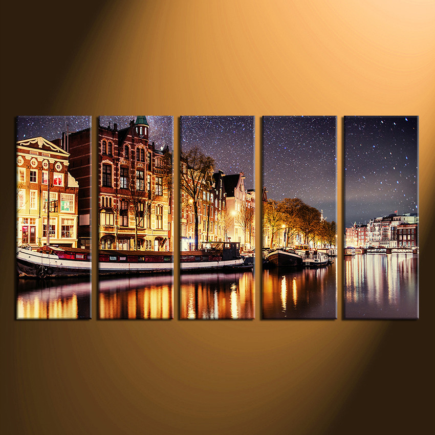 5 Piece Canvas Wall Art Home Decor Star Photo Yellow