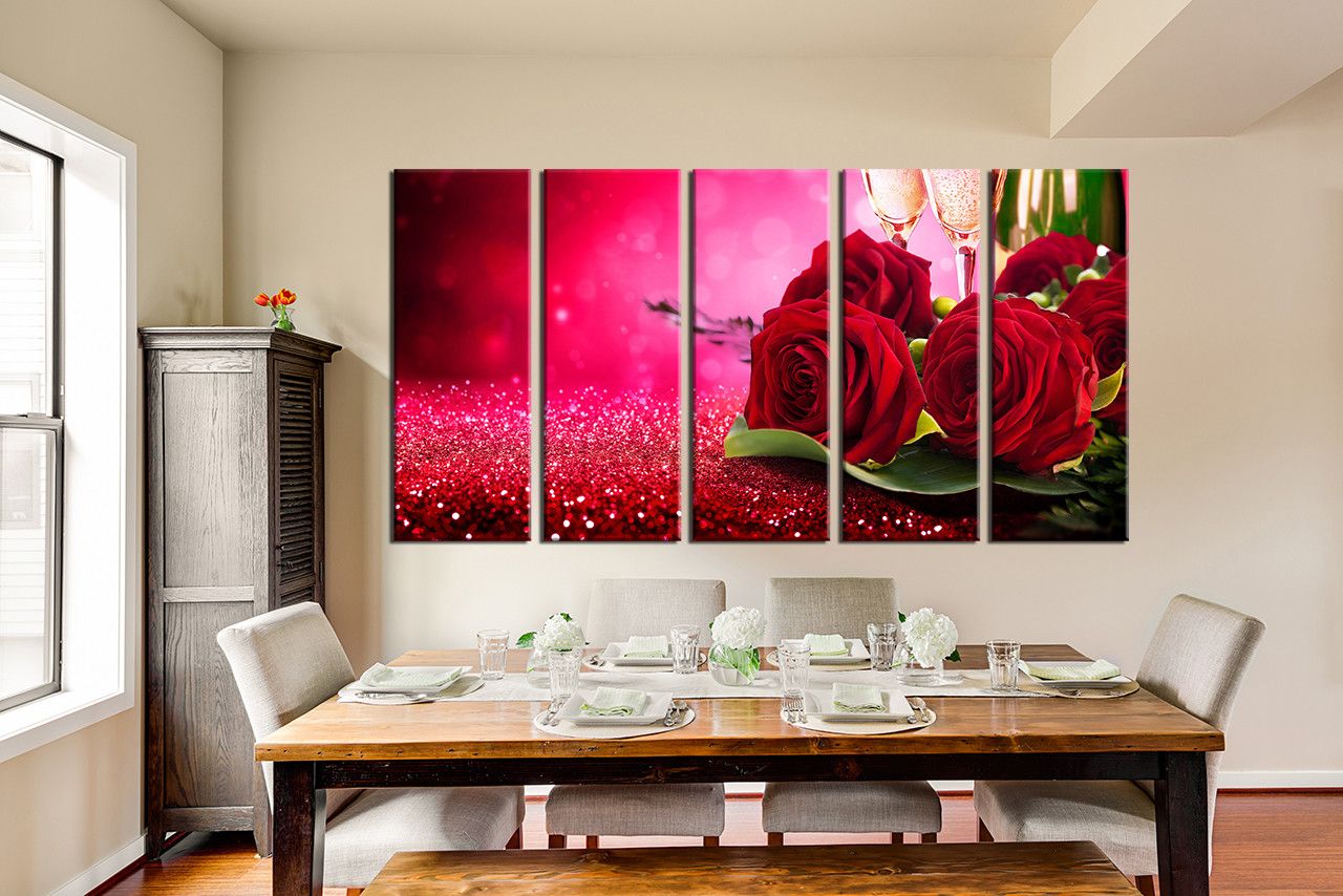5 Piece Canvas Print Red Rose Huge Pictures Dining Room Wall Decor