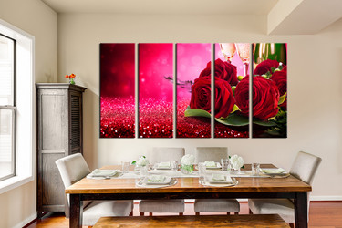 5 piece canvas print, red rose huge pictures, dining room wall decor, rose group canvas