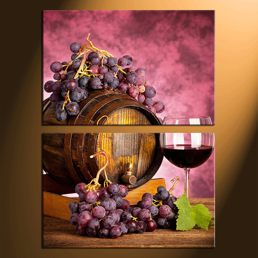 2 Piece Canvas Photography Wine Huge Canvas Print Grapes Large