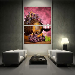 living room wall art, 2 piece wall art, purple multi panel art, wine large pictures, fruits photo canvas
