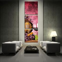 3 piece wall art, living room wall art, purple multi panel art, wine large pictures, fruits huge canvas art