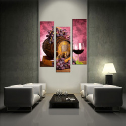 3 piece wall art, living room wall art, purple grapes multi panel art, wine large pictures, fruits huge canvas art