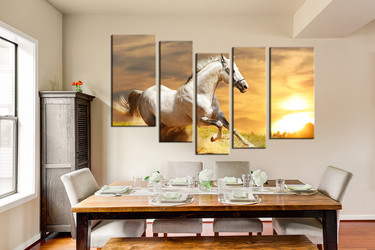 dining room wall decor, 5 piece wall art, horse multi panel art, wildlife artwork, animal  pictures