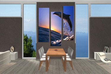 wildlife  pictures, dining room wall decor, 3 piece wall art, wild multi panel art, dolphin artwork