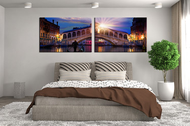 2 piece canvas wall art, bedroom artwork, blue large pictures, beautiful city multi panel art, sunrise group canvas