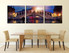 3 piece huge canvas art, dining room canvas print, cityscape wall decor, sunrise large pictures, panoramic multi panel art