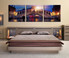 3 piece canvas wall art, bedroom artwork, blue large pictures, cityscape multi panel art, sunrise photo canvas