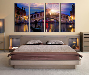 4 piece canvas wall art, bedroom photo canvas, city wall decor, sunrise art, gondola huge canvas art
