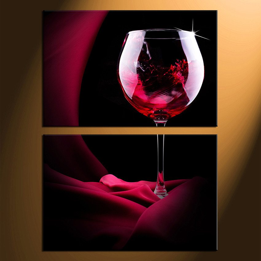 2017 Wall Art Fruit Grape Red Wine Glass Picture Art For: 2 Piece Large Pictures, Red Wine Multi Panel Art, Wine