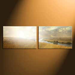 home decor, 2 piece wall art, multi panel art, yellow scenery canvas art, clouds multi panel art