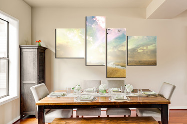 4 piece large canvas, dining room wall art, scenery pictures, scenery canvas photography