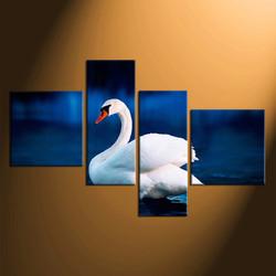 4 piece group canvas, home decor, swan multi panel canvas, bird canvas photography, wildlife canvas wall art