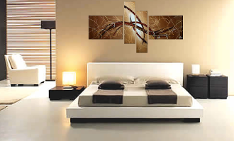 4 piece canvas wall art, bedroom wall decor, brown artwork, abstract multi panel canvas, oil painting wall decor