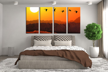 bedroom decor, 4 piece wall art, bird large pictures, wildlife wall art, animal huge pictures