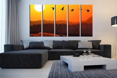 living room art, 5 piece canvas wall art, orange sky photo canvas, animal artwork, wildlife decor