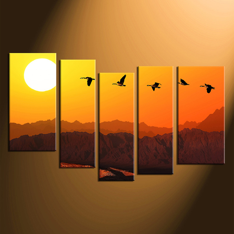 home decor, 5 piece group canvas, animal canvas print, bird huge pictures, wildlife artwork