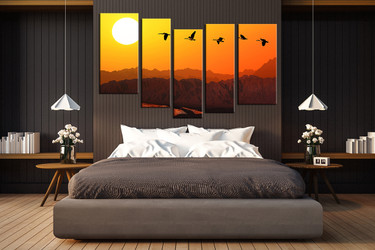 bedroom decor, 5 piece wall art, bird pictures, orange sky art, animal large pictures