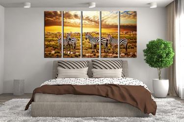 bedroom decor, 5 piece wall art, zebra large pictures, wildlife wall art, animal huge pictures