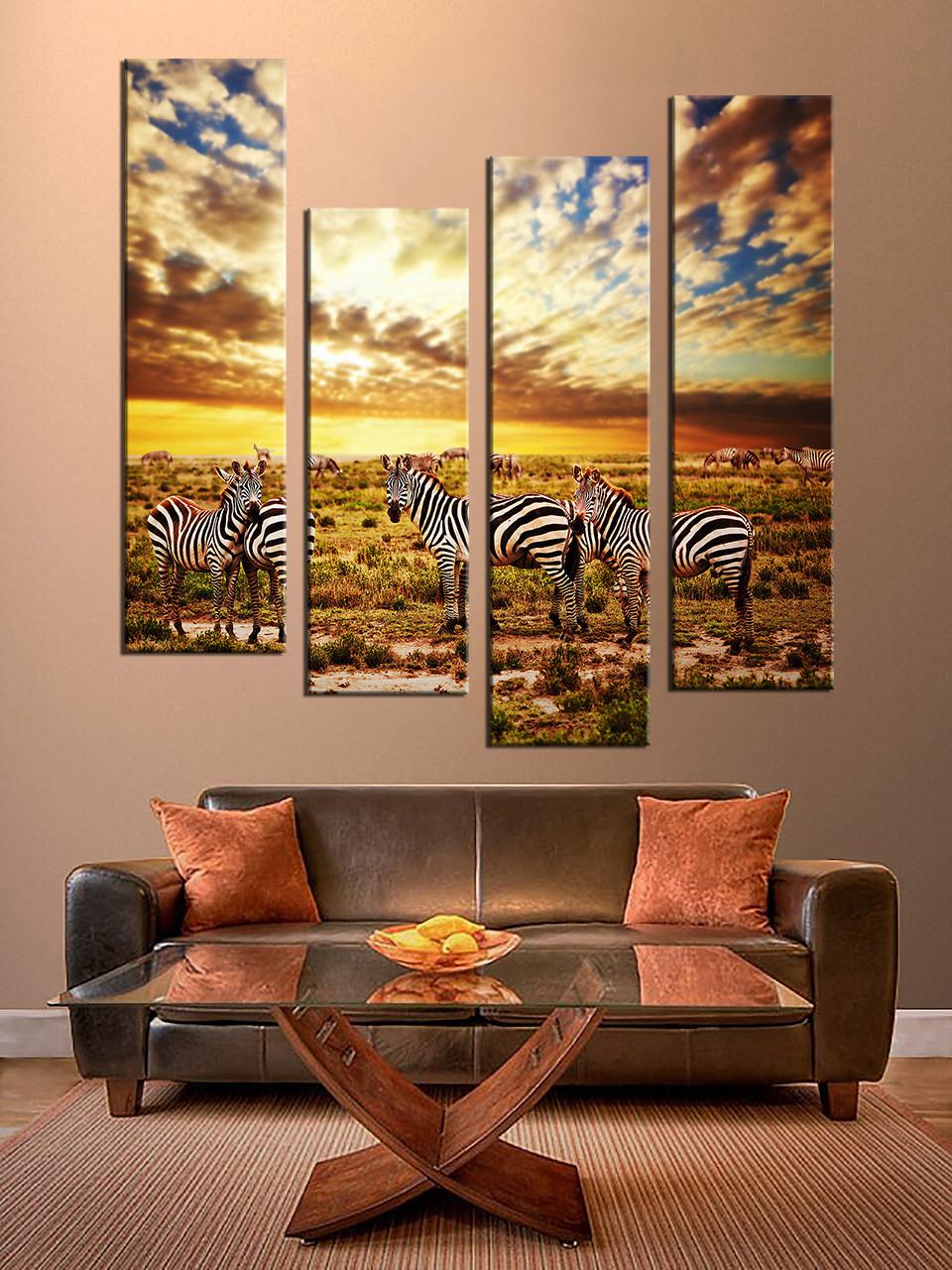 Amazing Living Room Decor, 4 Piece Wall Art, Zebra Pictures, Animal Art, Wildlife
