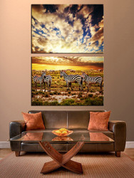 living room wall art, 2 piece huge canvas art, zebra canvas print, wildlife canvas art prints, wildlife group canvas