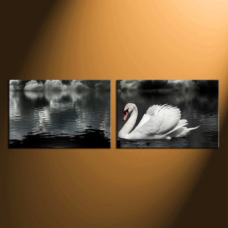 2 piece canvas wall art, black and white group canvas, swan large pictures, wildlife canvas photography