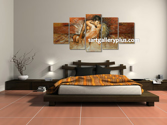 5 piece canvas print, bedroom photo canvas, abstract multi panel art, brown artwork, panoramic huge canvas print