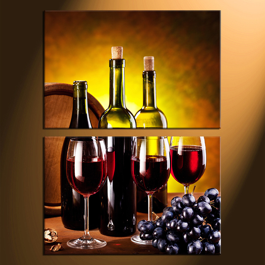 2 Piece Huge Canvas Print Red Wine Multi Panel Art Grapes Wine