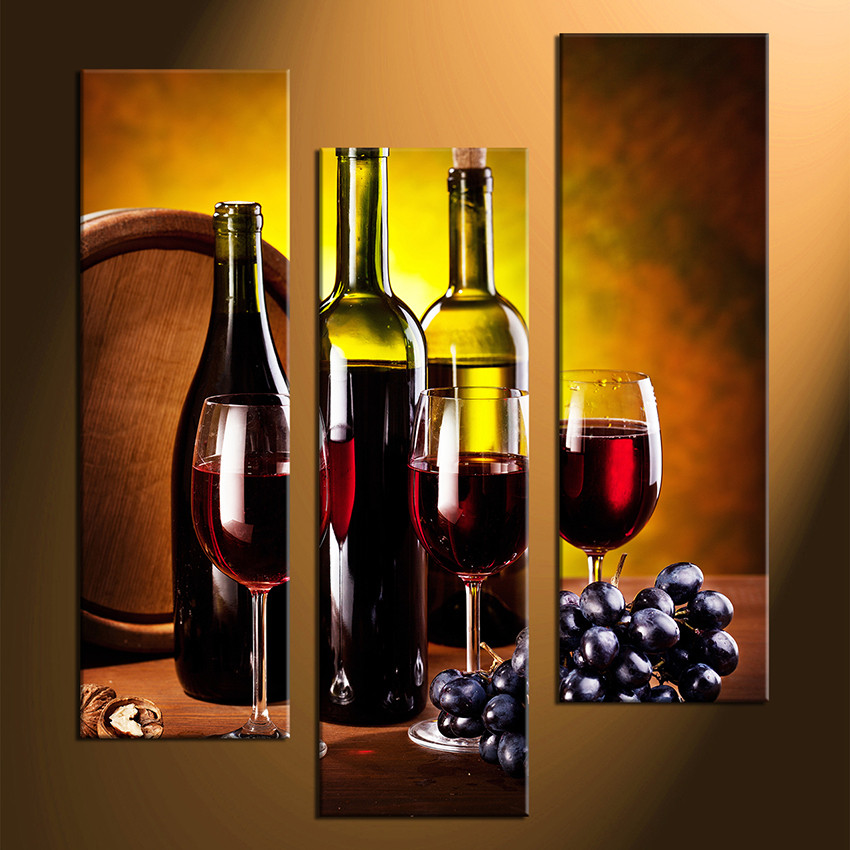 3 Piece Large Canvas Red Wine Multi Panel Canvas Wine Huge Canvas