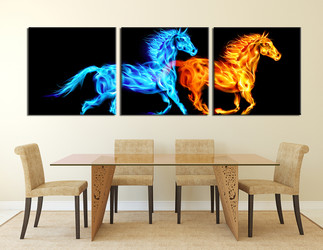 3 piece huge canvas art, blue yellow horse group canvas, wildlife large canvas, animal canvas wall art
