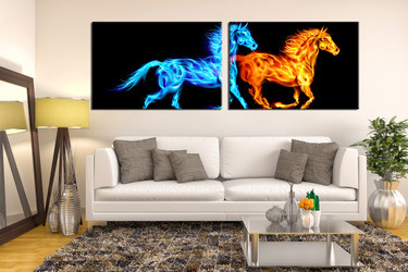 2 piece canvas photography, living room huge canvas art, blue yellow horse group canvas, wildlife photo canvas, animal artwork
